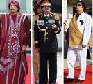 """利比亚指导人卡扎菲最会文娱群众,他的随身护卫都是""""美女保镖""""。和彪悍的发言一样,他的造型也很另类。长长的褐色服装是利比亚沙漠的贝都因人服装。"""