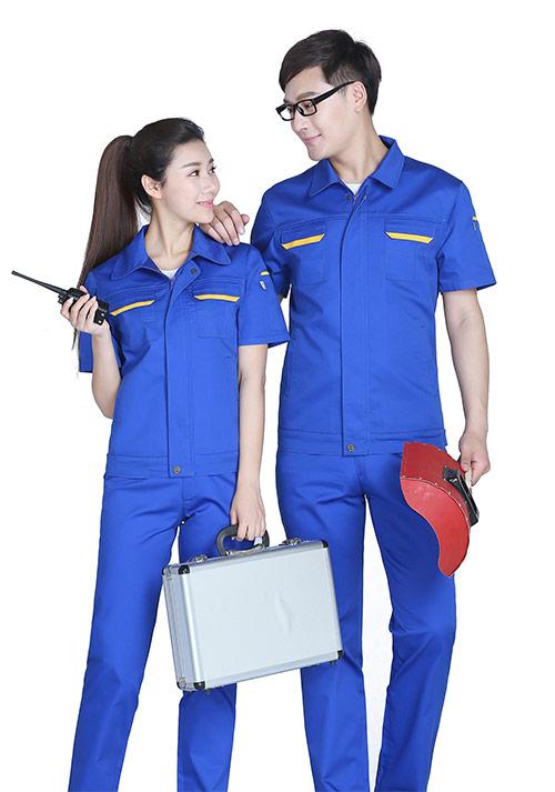 蓝色(口袋拼黄)工作服