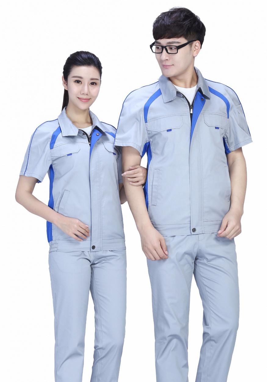 银灰色时尚配色夏季涤棉细纹短袖工作服FY635