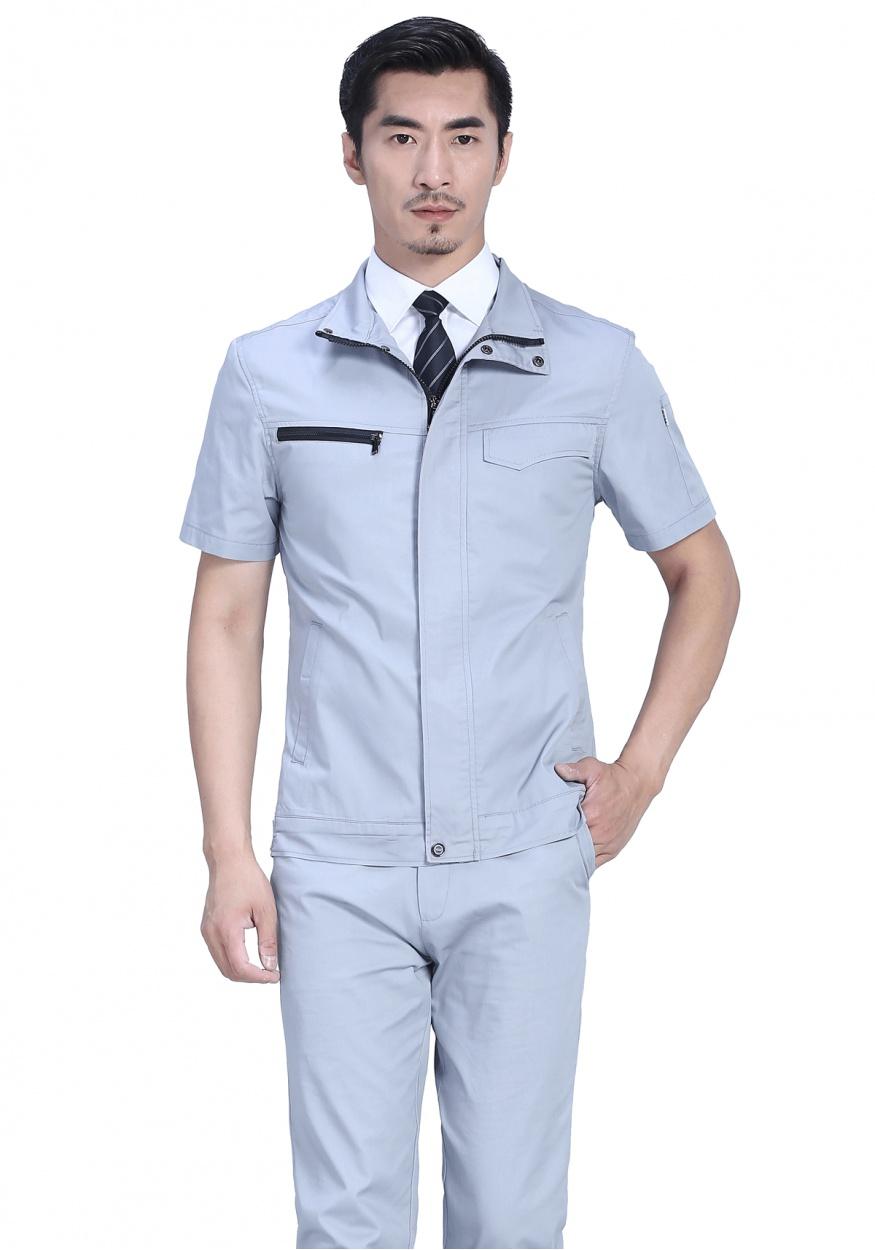 银灰色夏季短袖工作服FY628