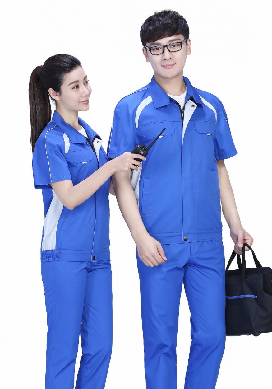 蓝色时尚配色夏季涤棉细纹短袖工作服FY635