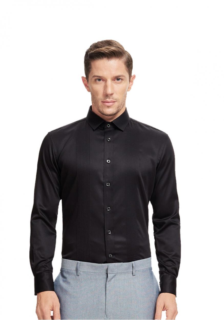 新款黑色职业衬衫男