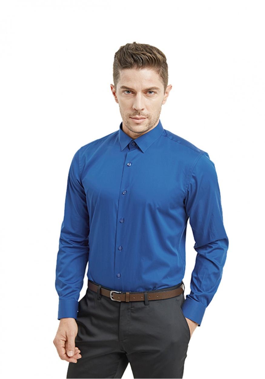 新款蓝色男士职业时尚衬衫