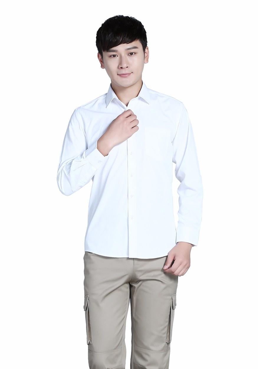 新款衬衫白色男全棉白色商务长袖衬衫